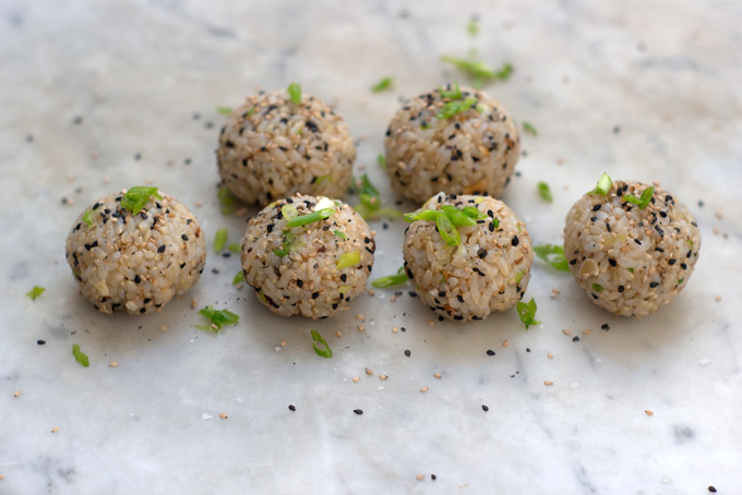 Sesame Almond Brown Rice Balls