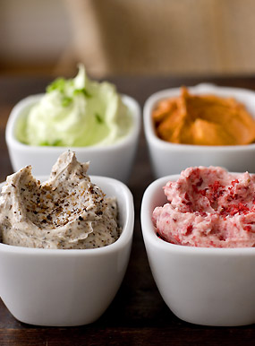 Compound Butter: (clockwise) Serrano, Smoked Paprika, Strawberry ...