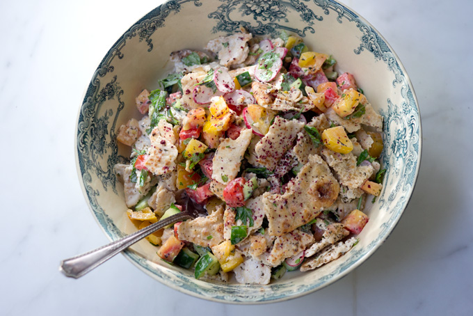 ... inspired chopped salad with tahini buttermilk dressing chickpeas sumac