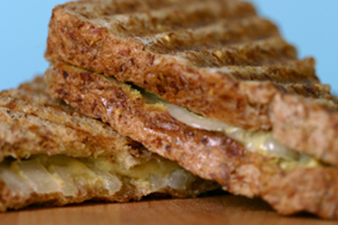 Classic Grilled Cheese with Marinated Onions and Whole Grain Mustard