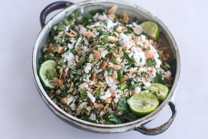 Herbal Rice Salad with Peanuts & Yogurt